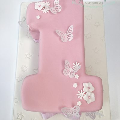 Pink butterflies number one cake