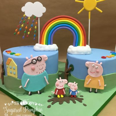 Peppa Pig cake for two children