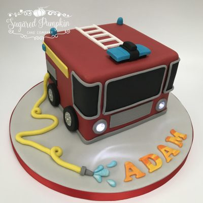 Cartoon fire engine cake