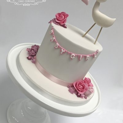 Stork birth congratulations cake