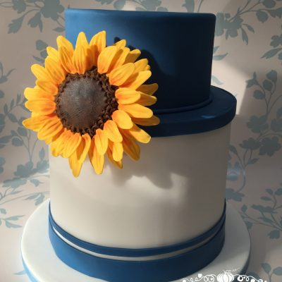 Birthday cake with edible flower
